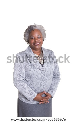 Older business woman isolated on white - stock photo