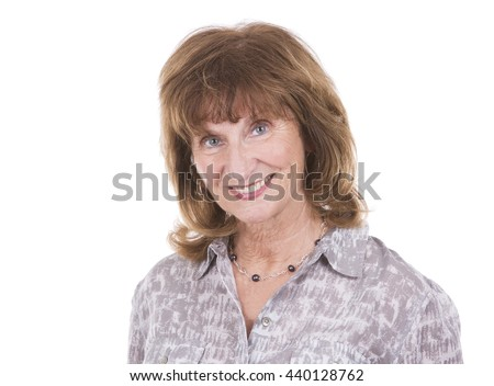older caucasian woman wearing casual outfit on white isolated background