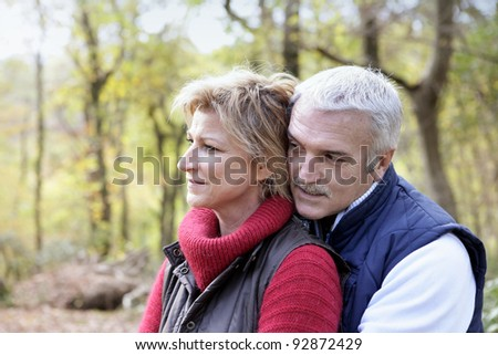 Older couple in the woods