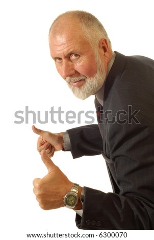 Older, experienced businessman giving thumbs up as a compliment; isolated on white - stock photo