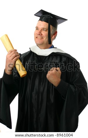 Older graduate rejoicing with degree - stock photo