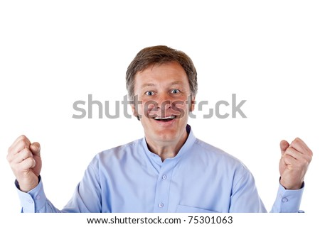Older handsome man jubilates with fists up in the air.Isolated on white background. - stock photo