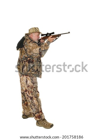 Older hunter with raised rifle about to shoot game, isolated on white with copy space - stock photo