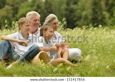 Older man and woman with their grandchildren resting on green grass - stock photo