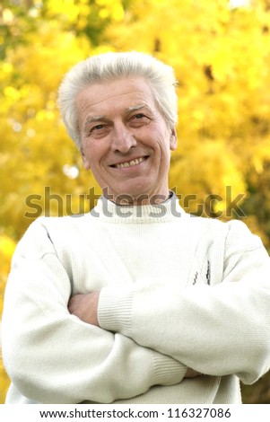 older man on a yellow background