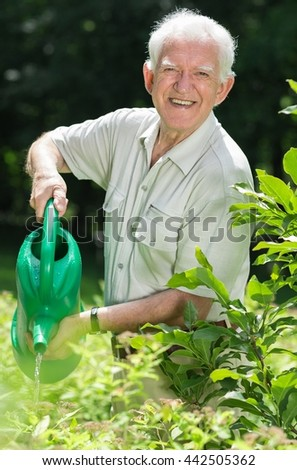 Older man watering plants in a garden by his green water-can with smile