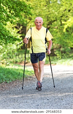 Older Senior Nordic walking for better fitness