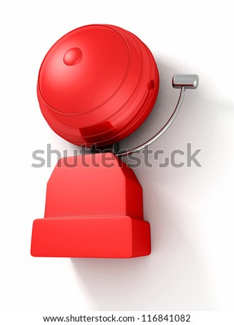 older style red alarm bell on white background - stock photo