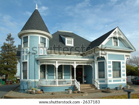Older Victorian home recently renovated in Northern California - stock photo