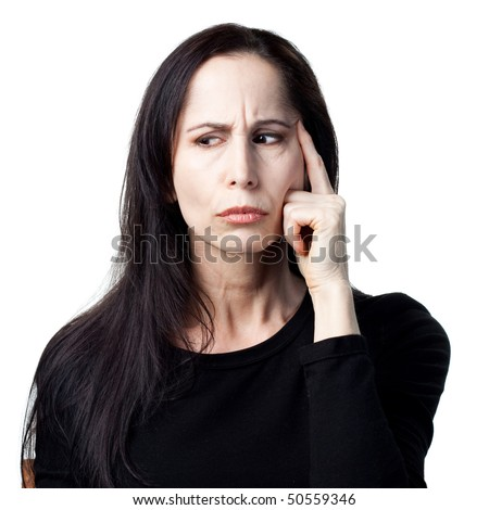 Older woman, deep in thought, isolated image - stock photo