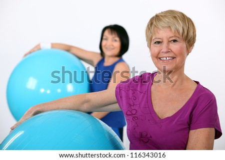 Older women in the gym - stock photo