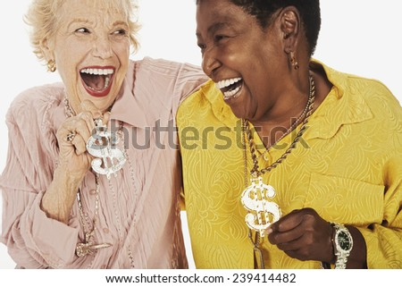 Older Women Wearing Bling - stock photo