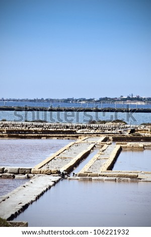 Oldest Europe's salt ponds in Sicily, Italy, between Marsala and Trapani