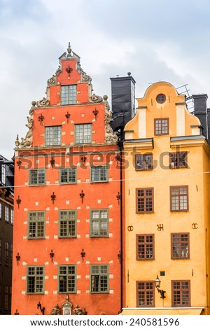 Oldest medieval Stortorget square in Stockholm, Stortorget place in Gamla stan, - stock photo
