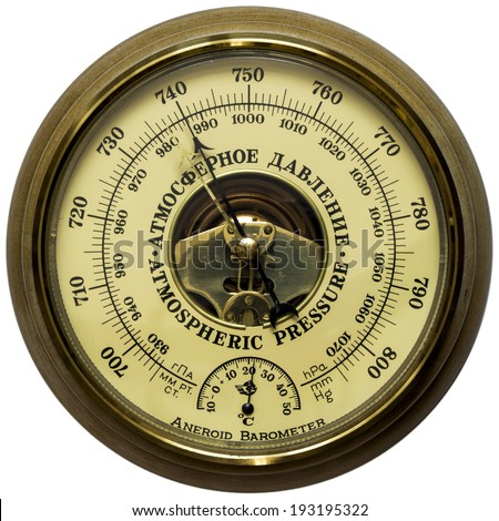 Oldstyle aneroid barometer - stock photo