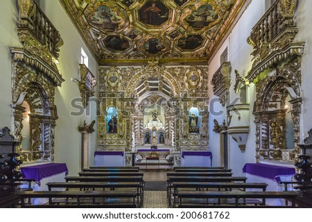 OLINDA, BRAZIL - MARCH 17: Panorama of the architecture of Saint Francis Convent in Olinda, PE, Brazil dated from the 17th century with golden altars, carvings, and painting on March 17, 2014.