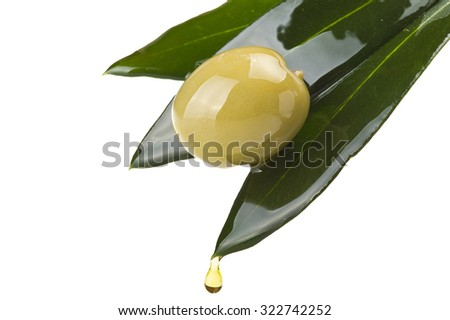 olive and leaves with drop oil on white - stock photo