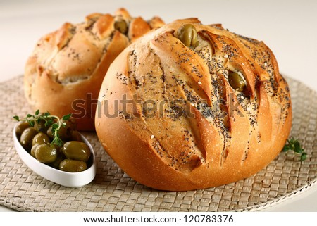 olive bread - stock photo