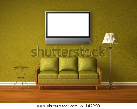 Olive couch with table and standard lamp with lcd tv in olive interior