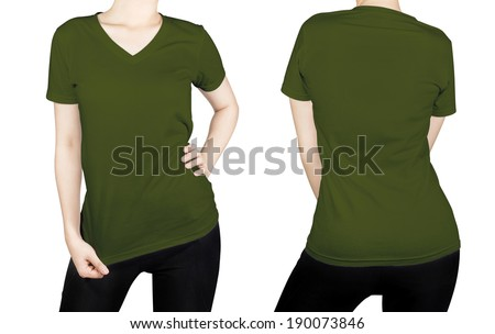 Olive green color T-shirt on woman body with front and back side isolated on white background..