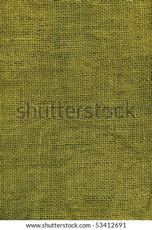 Olive green dyed jute canvas texture, close up - stock photo
