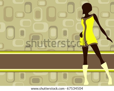 Olive green horizontal retro banner with mod girl (jpg); - stock photo