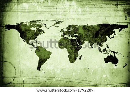 olive map of the world grungy - stock photo