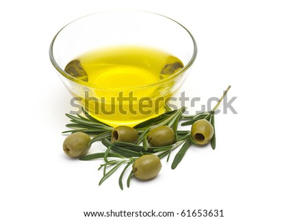 olive oil and green olives - stock photo
