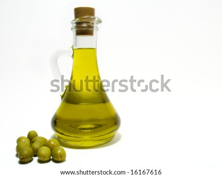 Olive oil and olive - stock photo