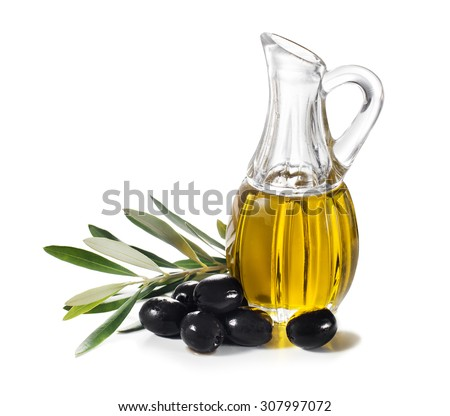 Olive oil and olive branch isolated on white. - stock photo