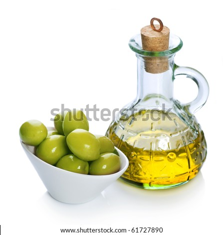 Olive Oil and Olives over white - stock photo