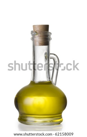 Olive oil bottle isolated over white background with clipping path - stock photo