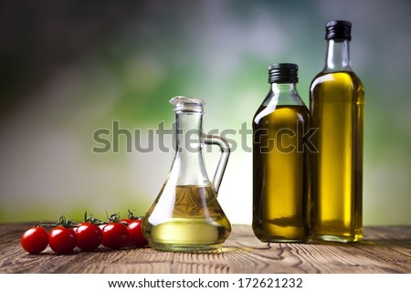 Olive oil bottles - stock photo