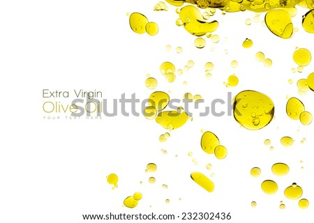 Olive oil drops. Closeup bubbles in water isolated on white. Template design with sample text - stock photo