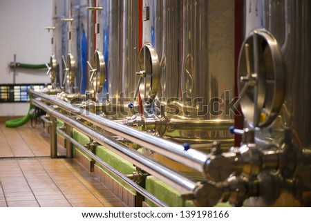 Olive oil factory, Olive Production, tank. Food automation - stock photo