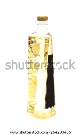 Olive oil in a plastic bottle isolated on white - stock photo