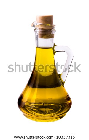Olive oil in a traditional bottle isolated on white - stock photo