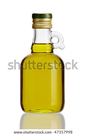 Olive oil in original bottle on a white background close-up - stock photo