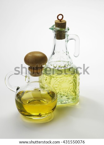 olive oil in the bottle on the white background