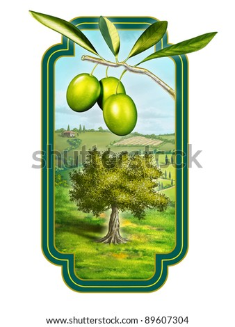 Olive oil label with a beautiful country landscape. Digital illustration, clipping path included. - stock photo
