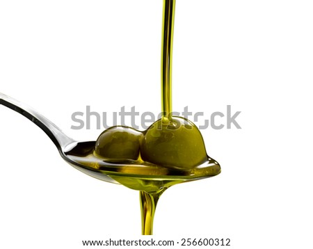 olive oil on an isolated background - stock photo