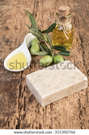 olive oil soap bars on wood - stock photo