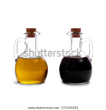 Olive oil with Italian balsamic vinegar of Modena, isolated - stock photo
