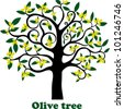 Olive tree full of olives isolated on white background.  Illustration - stock vector