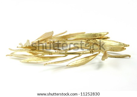 olive tree gold plated wreath for olympic games winners isolated on white background - stock photo