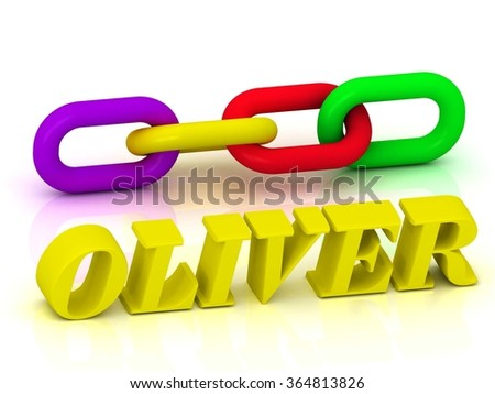 OLIVER- Name and Family of bright yellow letters and chain of green, yellow, red section on white background