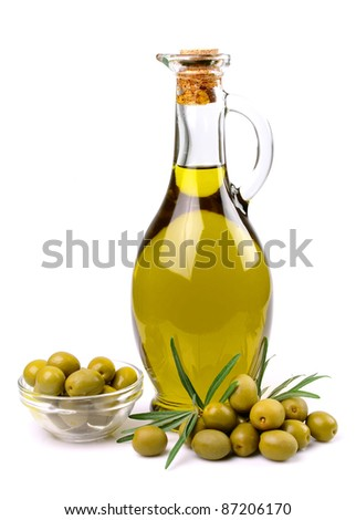 olives and oil close up on the white - stock photo