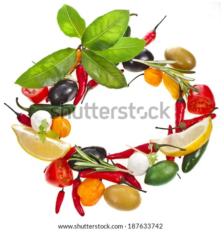 olives and variety vegetables and herb spice, frame with copy space isolated on a white background  - stock photo