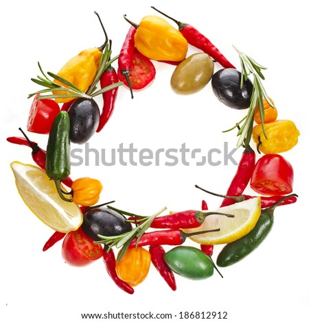 olives and variety vegetables and herb spice, frame wreath with copy space isolated on a white background  - stock photo