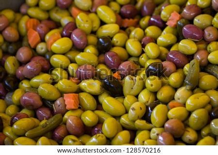 olives close-up, natural background - stock photo